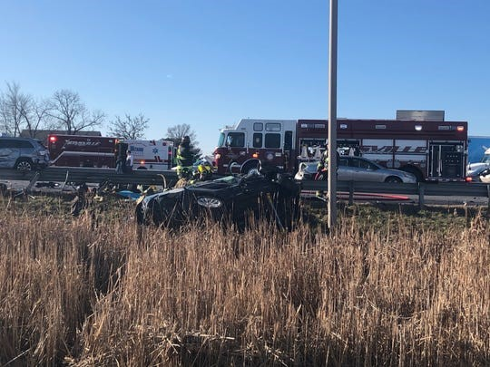 "Photo by the Zionsville Fire Department from the article ""Infant, 2 adults killed in fiery multi-vehicle crash on I-65 near Whitestown"" by Daniel Bradley and Andrew Smith on RTV6"